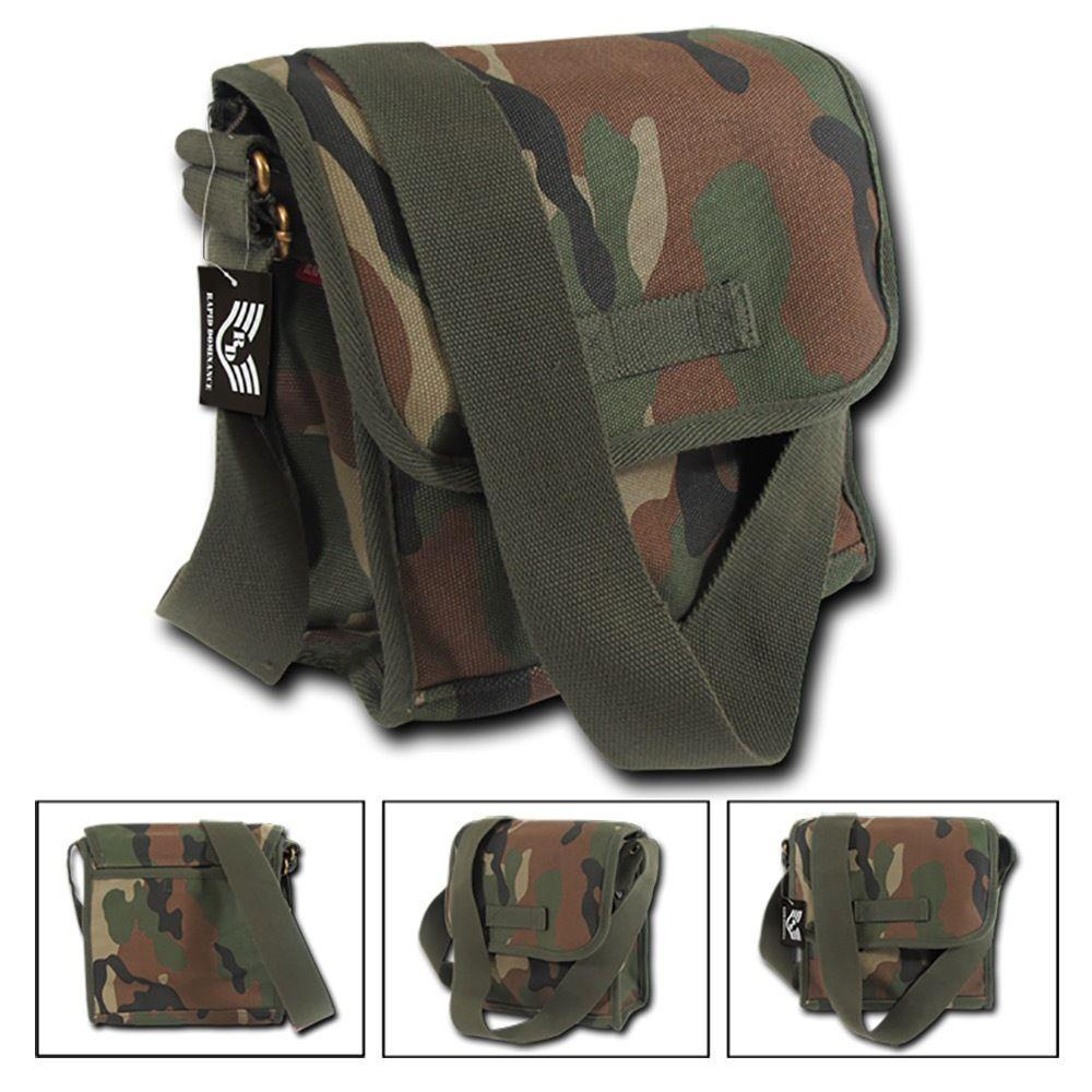 Cotton Canvas Woodland Camouflage Satchel Field Messenger Bag Crossbody Backpack