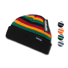 Cuglog Beanies Rasta Sailor Striped Knit 3 Tone Winter Skull Caps Hats Ski Warm