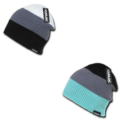 Cuglog Beanies Watch Striped Rib Knit 3 Tone Caps Ski Warm Winter