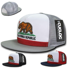 Cuglog California Republic Cal Flag 5 Panel Trucker Caps Hats Cali Bear