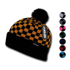 Cuglog Changbai Checker Flag Style Winter Cuffed Beanies Caps Pom Hats