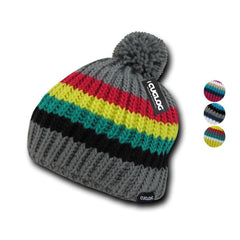 Cuglog Mont Ventoux Thick Cable Knit Stripped Beanies Big Fuzzy Pom Style Winter