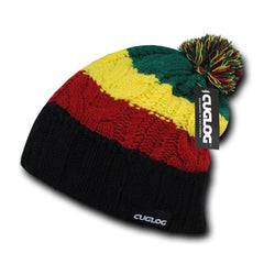 Cuglog Mytikas Colorful Stripped Beanies Fuzzy Pom Style Winter Caps Hats Rasta