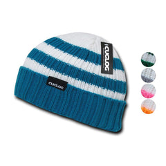 Cuglog Sailor Beanies Colorful Striped Cuffed Cable Knit Skull Caps Hats Winter