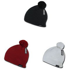Cuglog Tai Beanies Big Pom Pom Style Tightly Knit Winter Cuffed Caps Hats