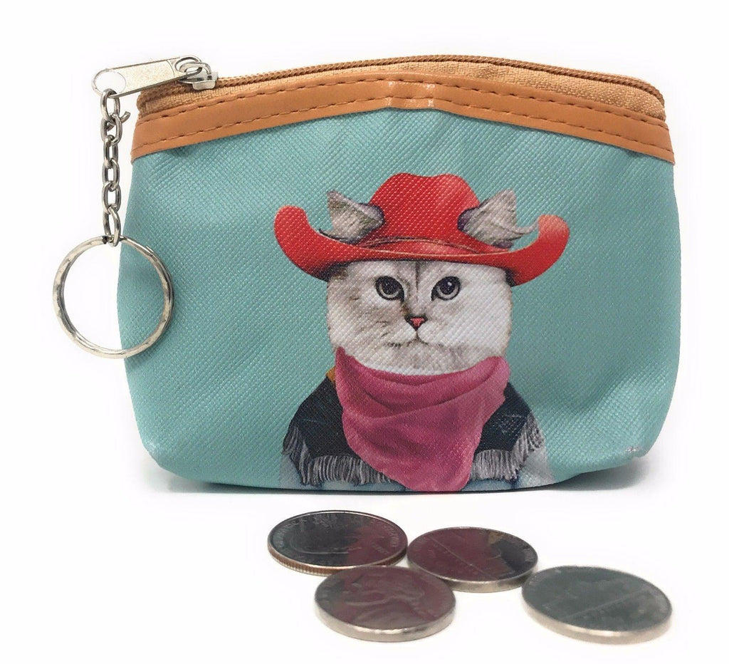 Cute Dog Cat Portraits Zipper Coin Wallet Purse Insert Keychain Ring Pouch Bag