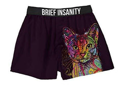 Brief Insanity Dean Russo Cat Lovers Whiskers Silky Boxer Shorts Gifts for Men Women