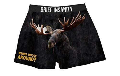 Brief Insanity Wanna Moose Around Silky Funny Boxer Shorts Gifts for Men Women