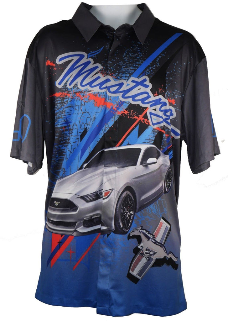David Carey Ford Mustang Ao Racing Pit Crew Dry Wicking Moisture Absorbent Shirt