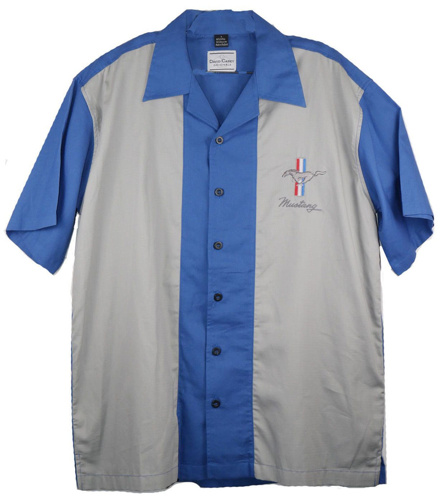 David Carey Iconic Ford Mustang Pony Club Pit Crew Bowling Shirt Button Down