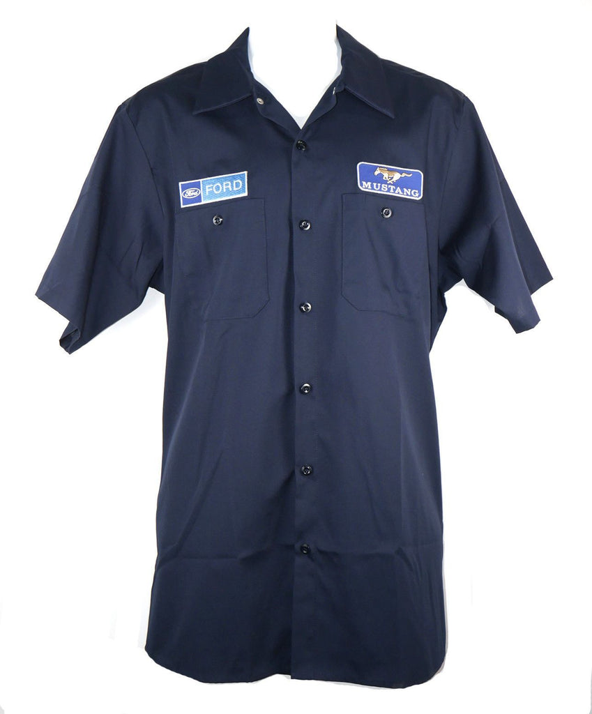 David Carey Vintage Ford Mustang Mechanic Pit Crew Garage Work Shirt Button Down