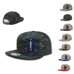 Decky Army Camouflage 100% Cotton Retro Flat Bill 6 Panel Snapback Hats Caps