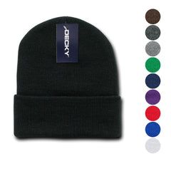 Decky Beanies Cuffed Knit Ski Skull Caps Hats Snug Warm Winter Unisex