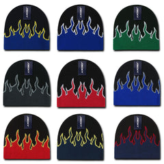 Decky Fire Flame Beanies Caps Hats Short Warm Winter Youth Boys Girls Kids