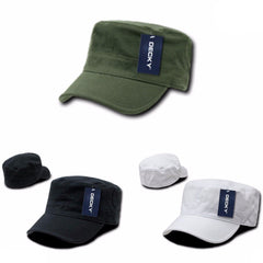 Decky Flex Cadet Flat Top Cotton Military Army Blank Caps Hats