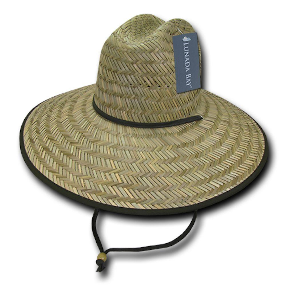 cbc52847ebf42 Decky Mat Paper Straw Lifeguard Cowboy Hats Caps Mens Womens Beach ...