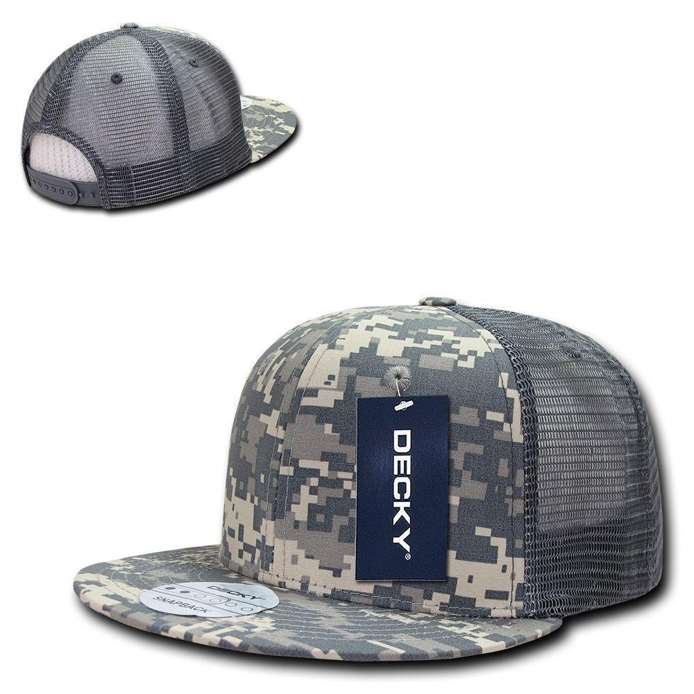 Decky Military Army Camo Acu Ripstop Flat Bill Trucker Cotton Hats Caps