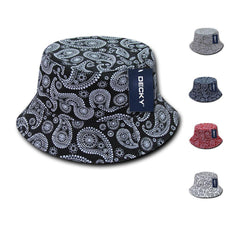 Decky Paisley Bandana Design Fitted Bucket Hats Caps Cotton Unisex