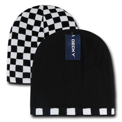 Decky Race Checkered Flag Reversible Beanies Ski Skull Caps Hats Winter