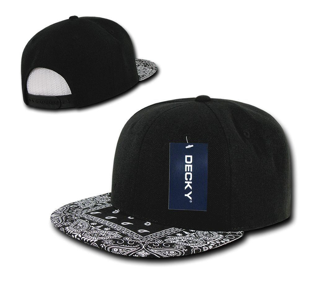 Decky Trendy Paisley Bandana Snapback Two Tone 6 Panel Flat Bill Hats Caps