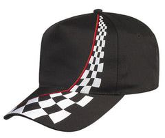 Embroidered Racing Checkers Cotton Twill 5 Panel Snapback Baseball Hats Caps