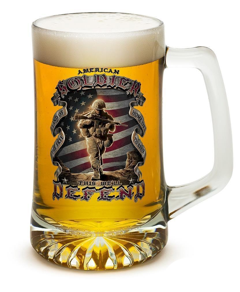 Erazor Bits American Solider Set Of 2 Large Tankards 25Oz Drinkware