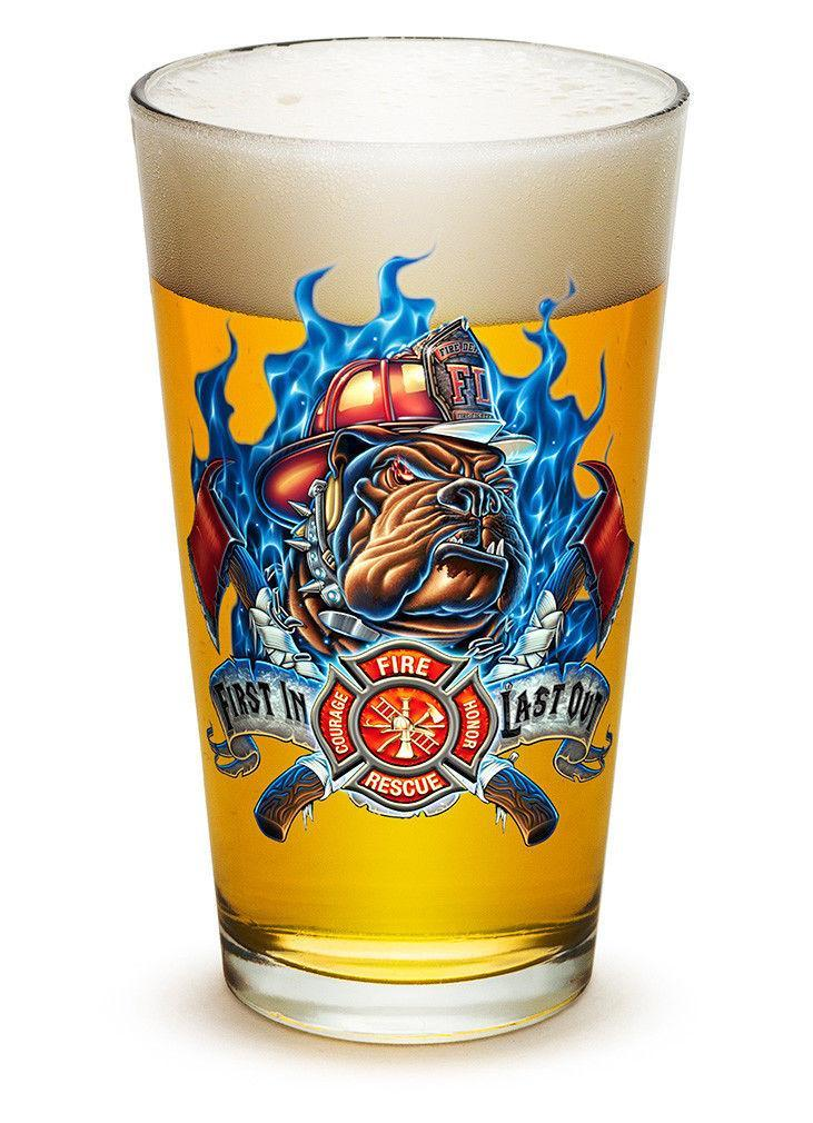 Erazor Bits Fire Dog First In Last Out Firefighter - Set Of 2 - Large Pint Glass