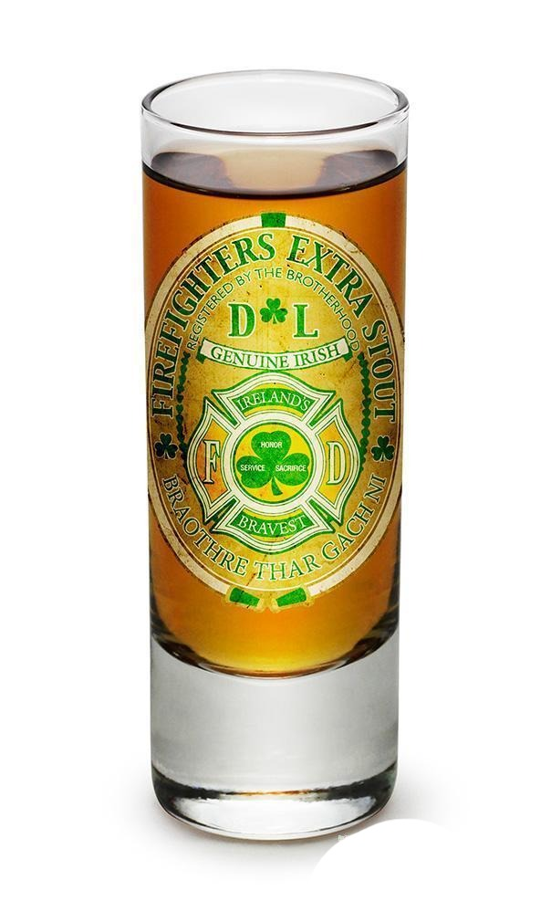 Erazor Bits Firefighter Irelands Bravest- Set Of 2 - Shooter Shot Glass 2Oz Drin