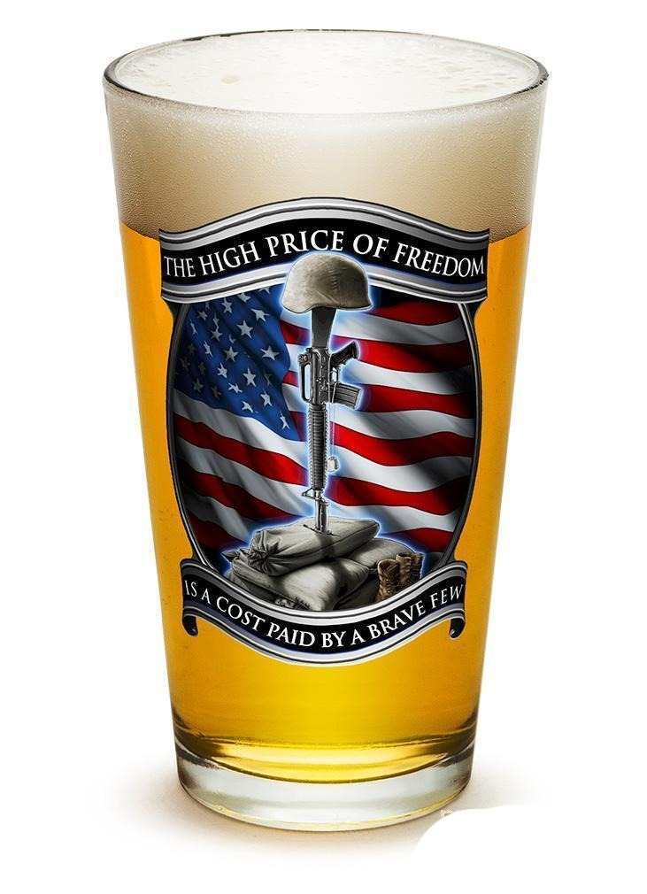 Erazor Bits High Price Of Freedom - Set Of 2 - Large Pint Glasses 16Oz Drinkware