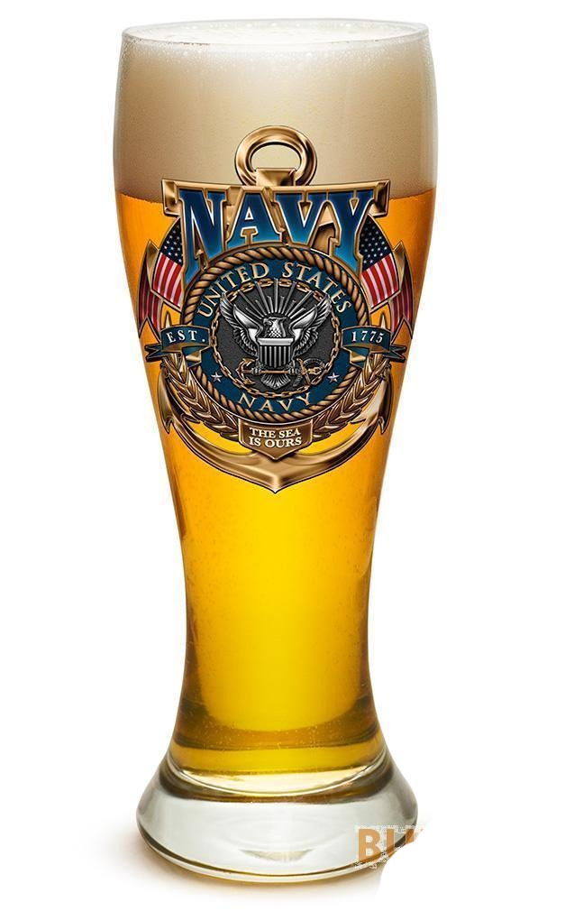 Erazor Bits Navy The Sea Is Ours - Set Of 2 - Large Pilsner Glasses 23Oz Drinkwa