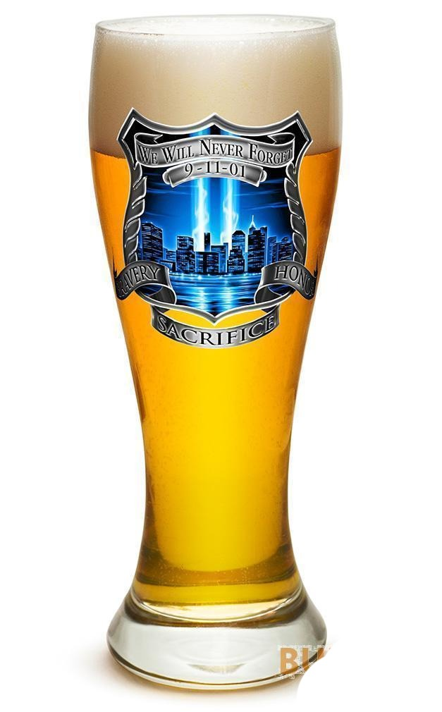Erazor Bits Tribute High Honor Police - Set Of 2 - Large Pilsner Glasses 23Oz Dr
