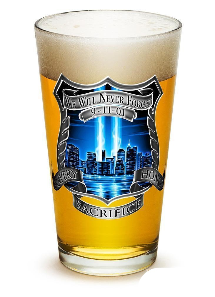 Erazor Bits Tribute High Honor Police - Set Of 2 - Large Pint Glasses 16Oz Drink