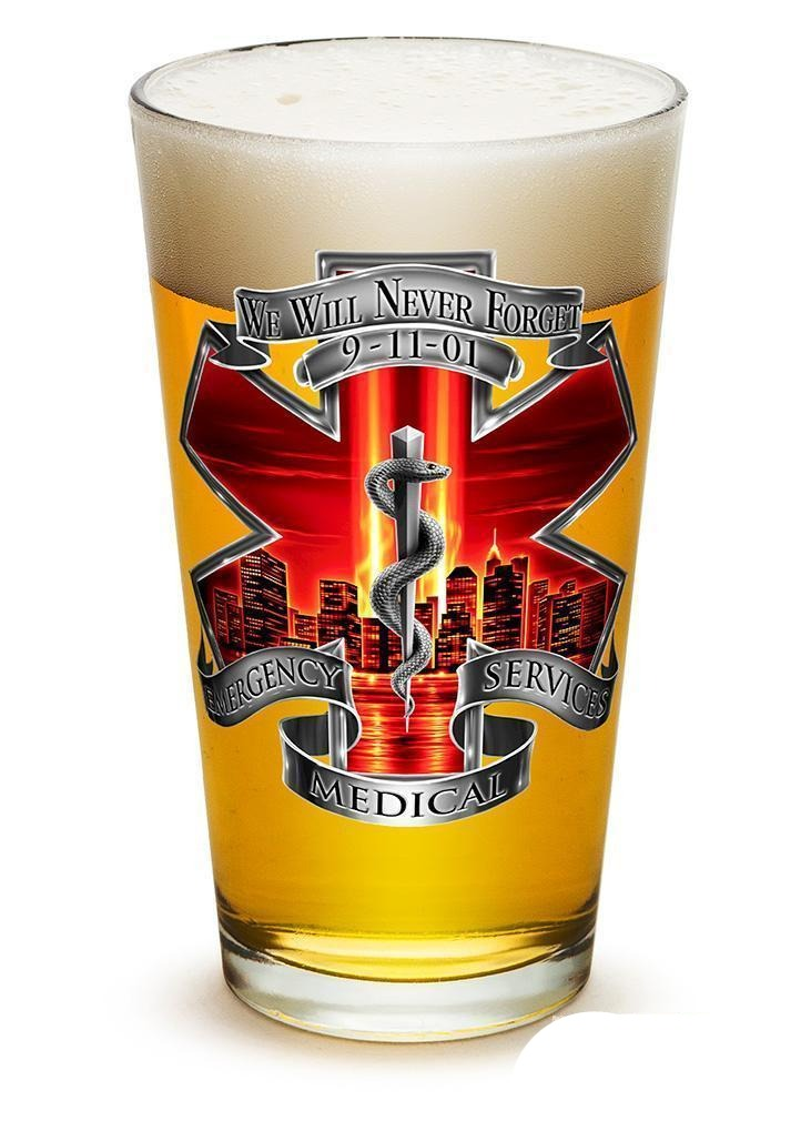 Erazor Bits Tribute High Honor Red Ems - Set Of 2 - Large Pint Glasses 16Oz Drin