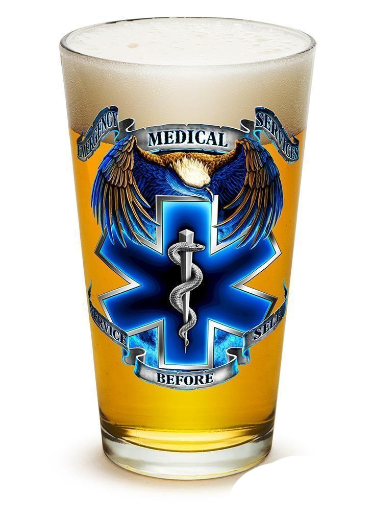 Erazor Bits True Heros Ems - Set Of 2 - Large Pint Glasses 16Oz Drinkware