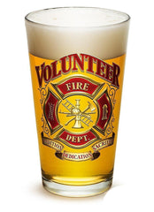 Erazor Bits Volunteer Firefighter - Set Of 2 - Large Pint Glasses 16Oz Drinkware
