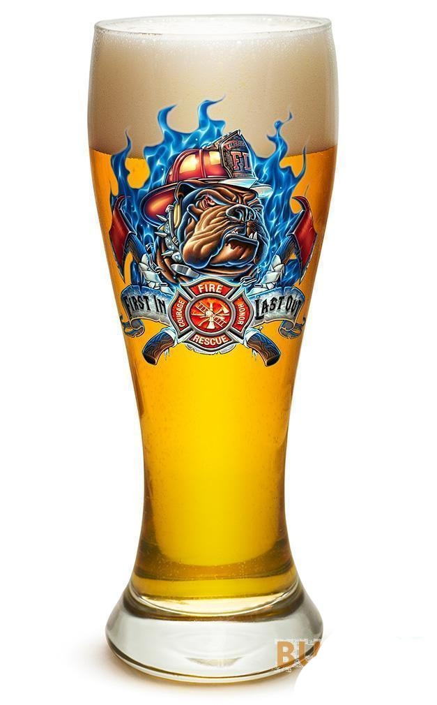 Fire Dog First In Last Out Firefighter - Set Of 2 - Large Pilsner Glasses 23Oz D