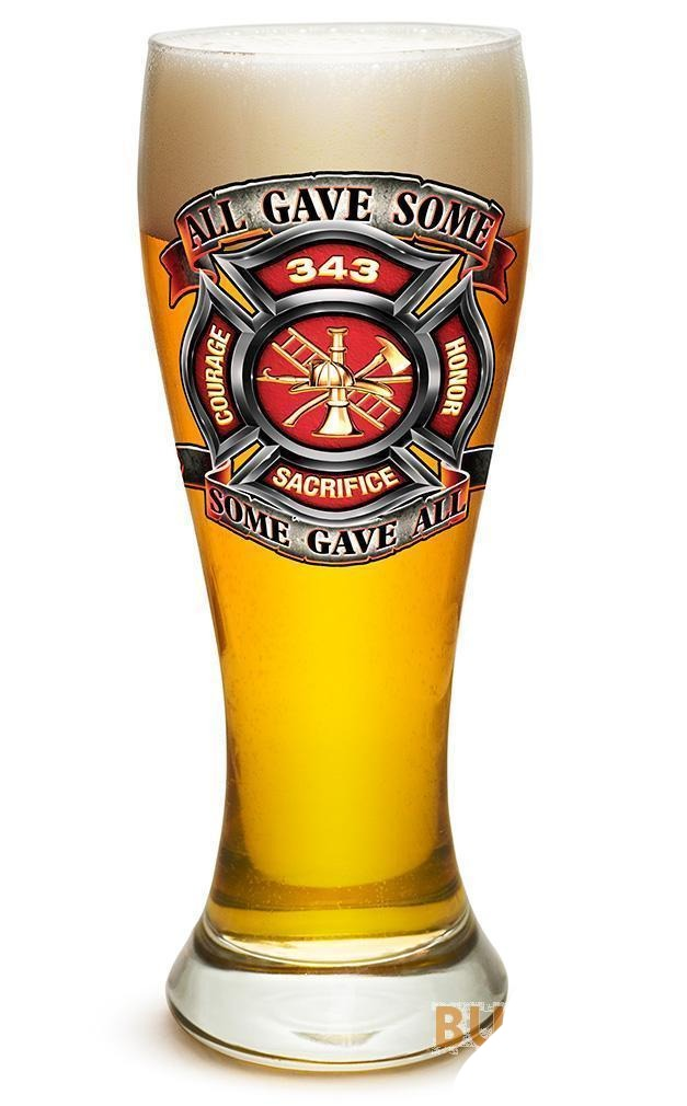 Fire Honor Courage Sacrifice 343 Badge Set Of 2 Large Pilsner Glasses 23Oz Drink