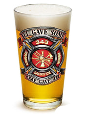 Fire Honor Courage Sacrifice 343 Badge - Set Of 2 - Large Pint Glasses 16Oz Drin