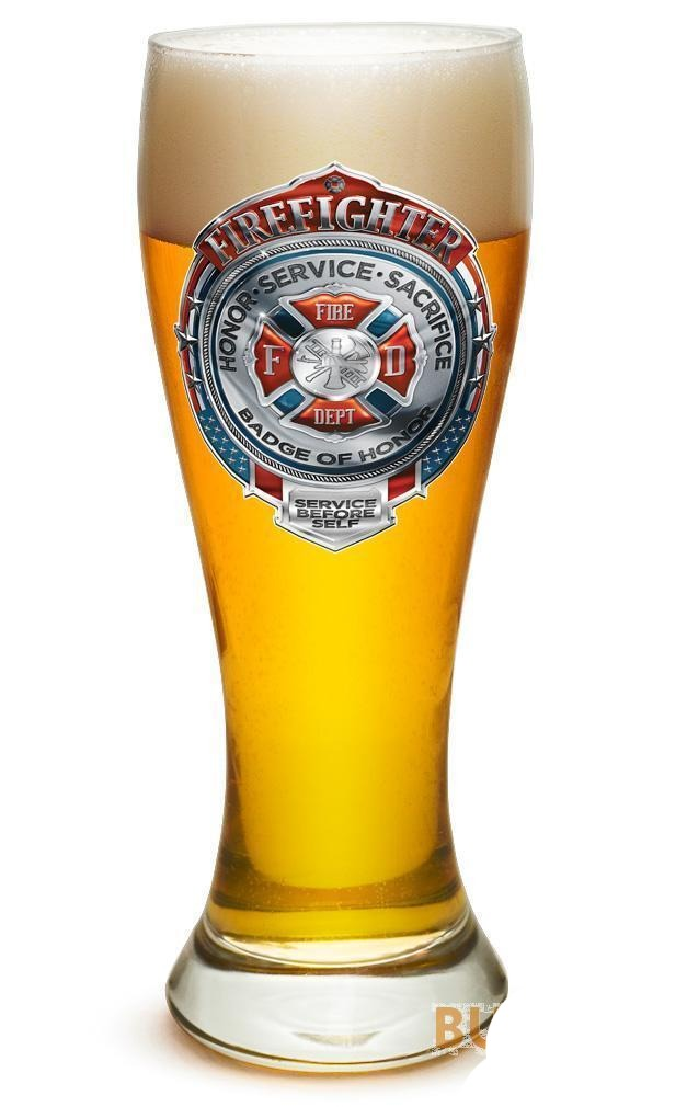 Fire Honor Courage Sacrifice Chrome Badge Set Of 2 Large Pilsner Glasses 23Oz D