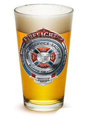 Fire Honor Courage Sacrifice Chrome Badge - Set Of 2 - Large Pint Glasses 16Oz D