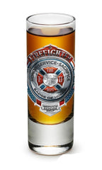 Fire Honor Service Sacrifice Chrome Badge Set Of 2 Shot Shooter Glass 2Oz Drinkw