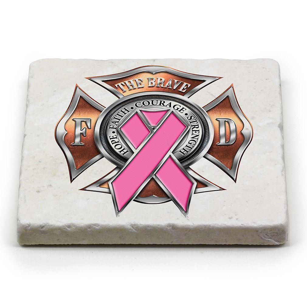 Firefighter Breast Cancer Awareness Pink Ribbon Marble Stone Coasters Sets