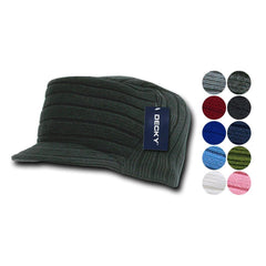 Gi Cadet Army Military Flat Top Jeep Beanies Caps Hats Ribbed Knit Visor Ski