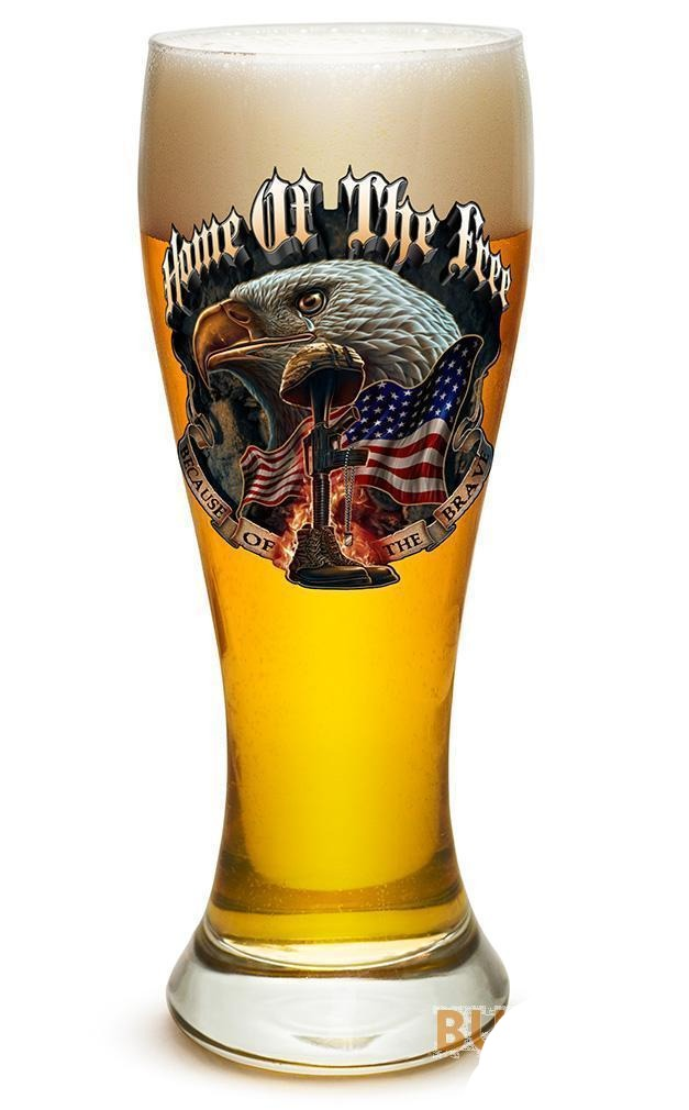 Home Of The Free Because Of The Brave - Set Of 2 - Large Pilsner Glasses 23Oz Dr