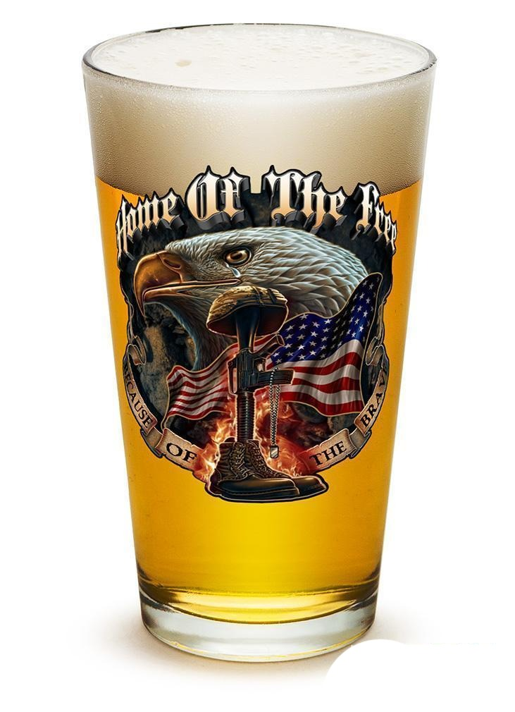Home Of The Free Because Of The Brave - Set Of 2 - Large Pint Glasses 16Oz Drink