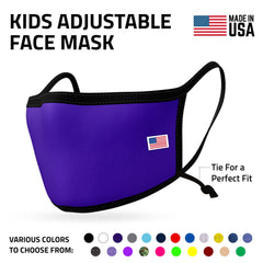 Kids Size Adjustable Face Mask for Children Boys Girls Cloth Double Layer Masks Washable Reusable Made in USA aged 3 to 7