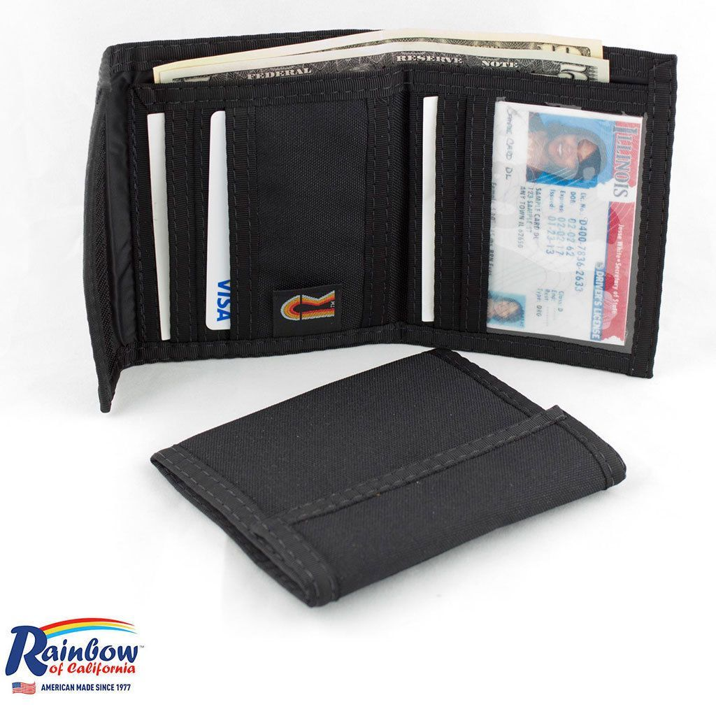 Made in USA Rainbow of California Unisex Bifold Wallet Nylon Water Resistant