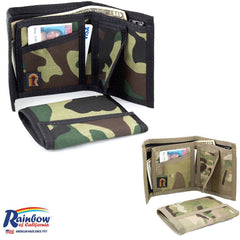 Made in USA Rainbow of California Camouglage Bifold Mens Wallet Water Resistant
