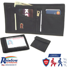Made in USA Rainbow of California ID Window RFID-Blocking Panel Mens Wallet