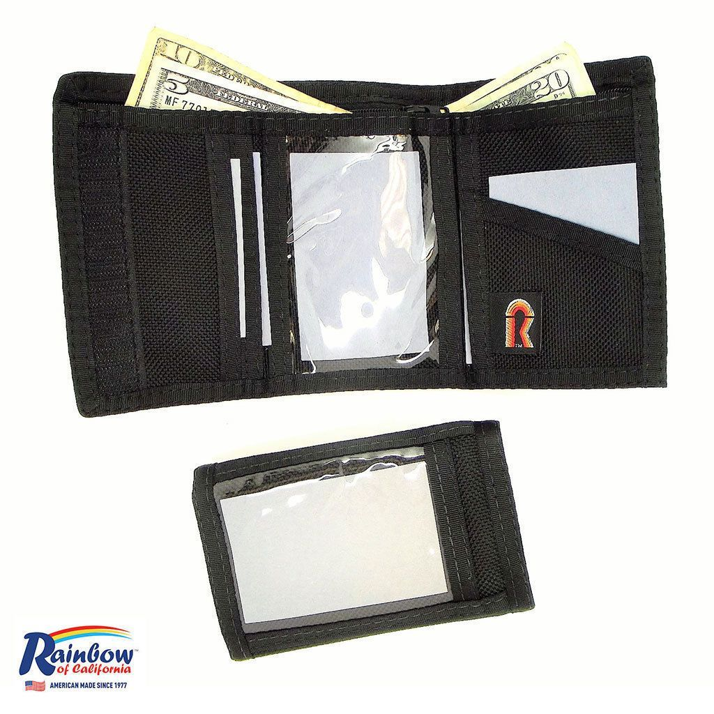 Made in USA Rainbow of California Trifold Black Mens ID Wallet Water Resistant